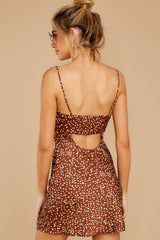 Unrivaled Style Mocha Brown Print Dress