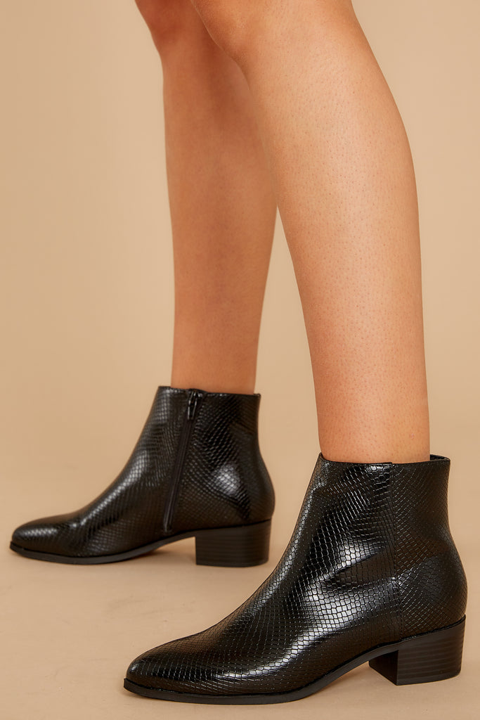 1 Notice It Now Black Crocodile Booties at reddressboutique.com