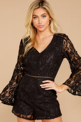 6 Language Of Style Black Lace Romper at reddressboutique.com