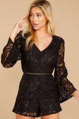 7 Language Of Style Black Lace Romper at reddressboutique.com
