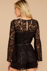 8 Language Of Style Black Lace Romper at reddressboutique.com