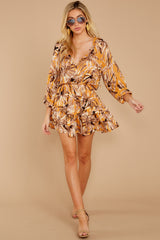 2 Near Your Heart Goldenrod Floral Print Dress at reddressboutique.com