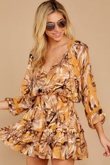5 Near Your Heart Goldenrod Floral Print Dress at reddressboutique.com