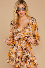 6 Near Your Heart Goldenrod Floral Print Dress at reddressboutique.com