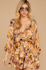 7 Near Your Heart Goldenrod Floral Print Dress at reddressboutique.com
