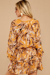 8 Near Your Heart Goldenrod Floral Print Dress at reddressboutique.com