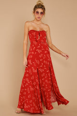 6 Forget Your Watch Rust Floral Print Maxi Dress at reddressboutique.com