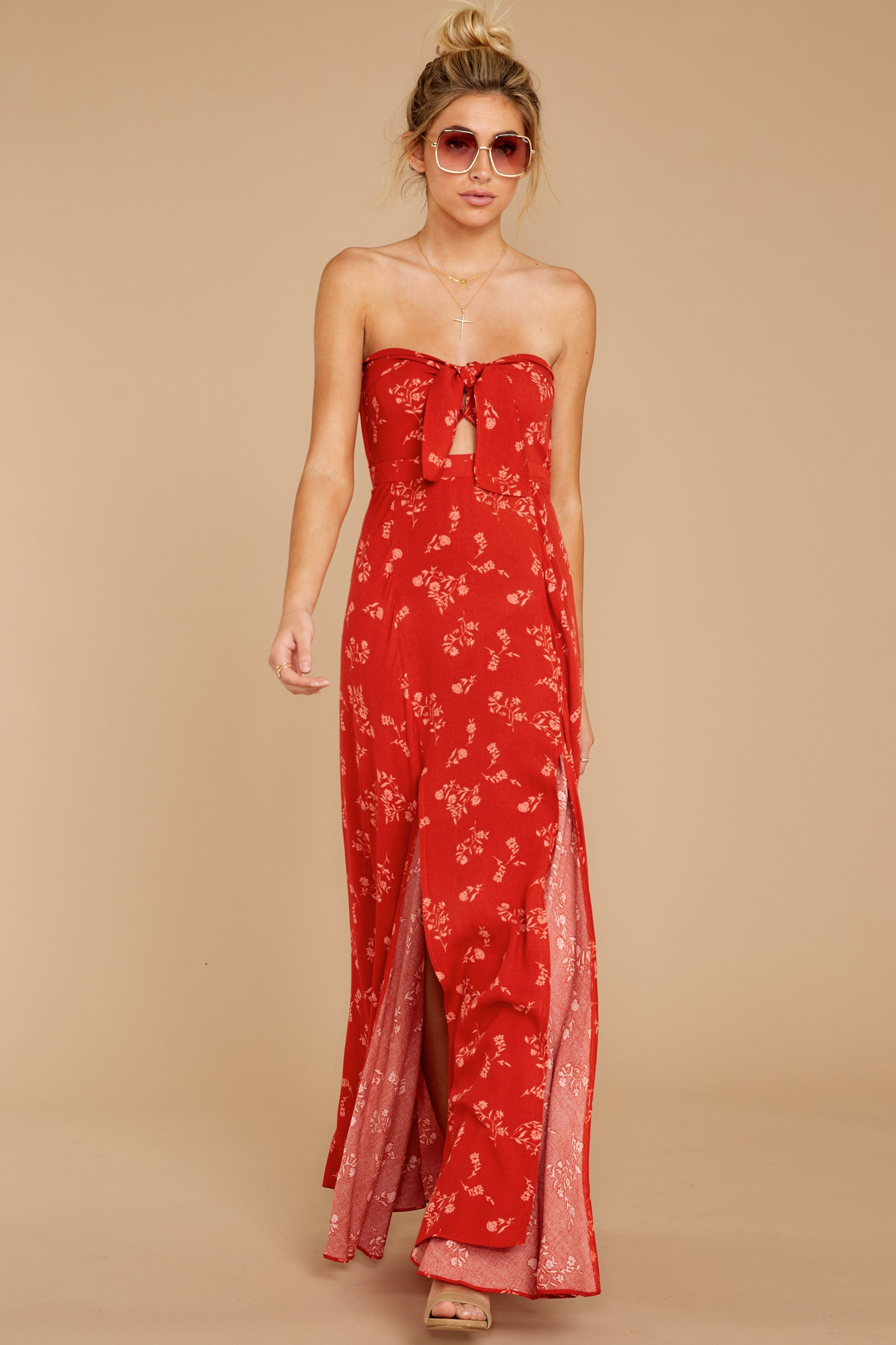 7 Forget Your Watch Rust Floral Print Maxi Dress at reddressboutique.com