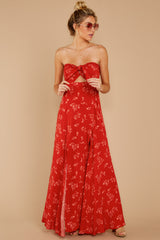 2 Forget Your Watch Rust Floral Print Maxi Dress at reddressboutique.com