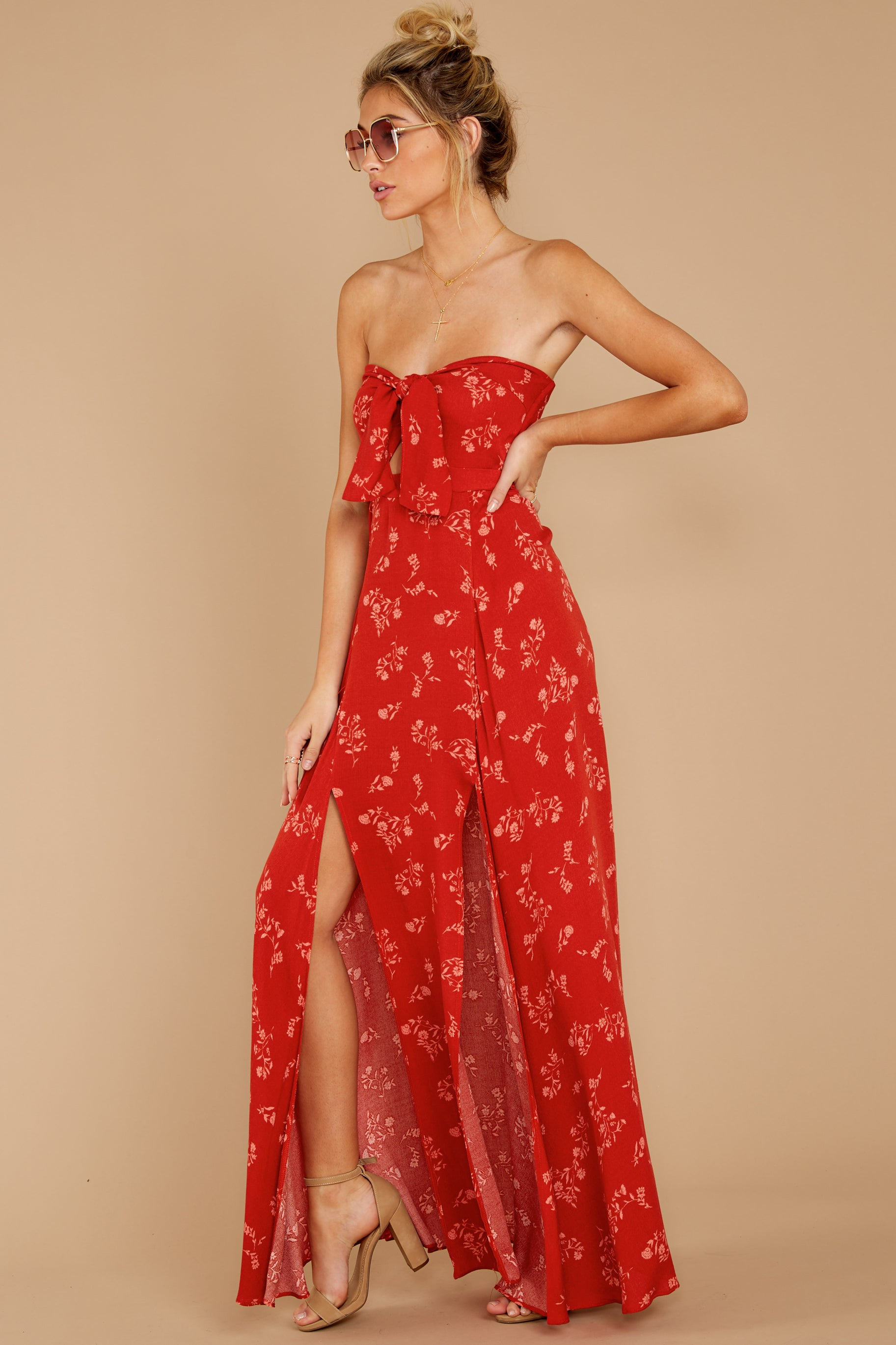 3 Forget Your Watch Rust Floral Print Maxi Dress at reddressboutique.com
