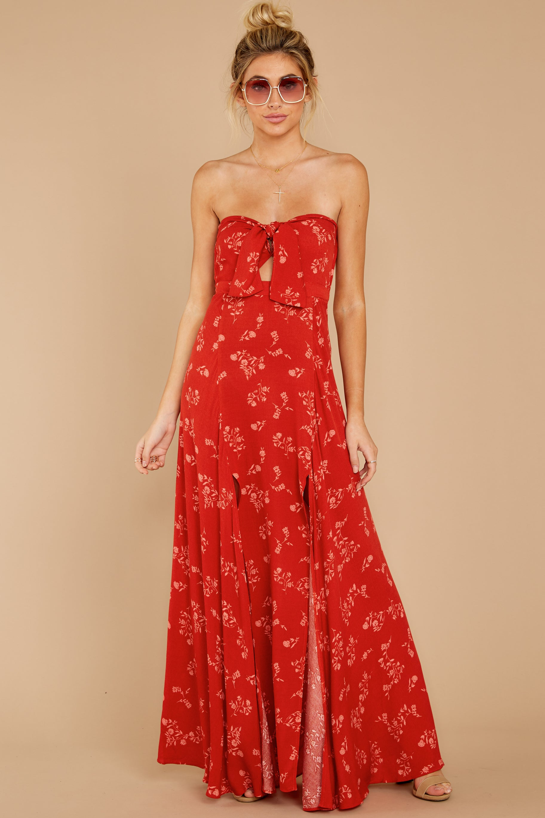 4 Forget Your Watch Rust Floral Print Maxi Dress at reddressboutique.com