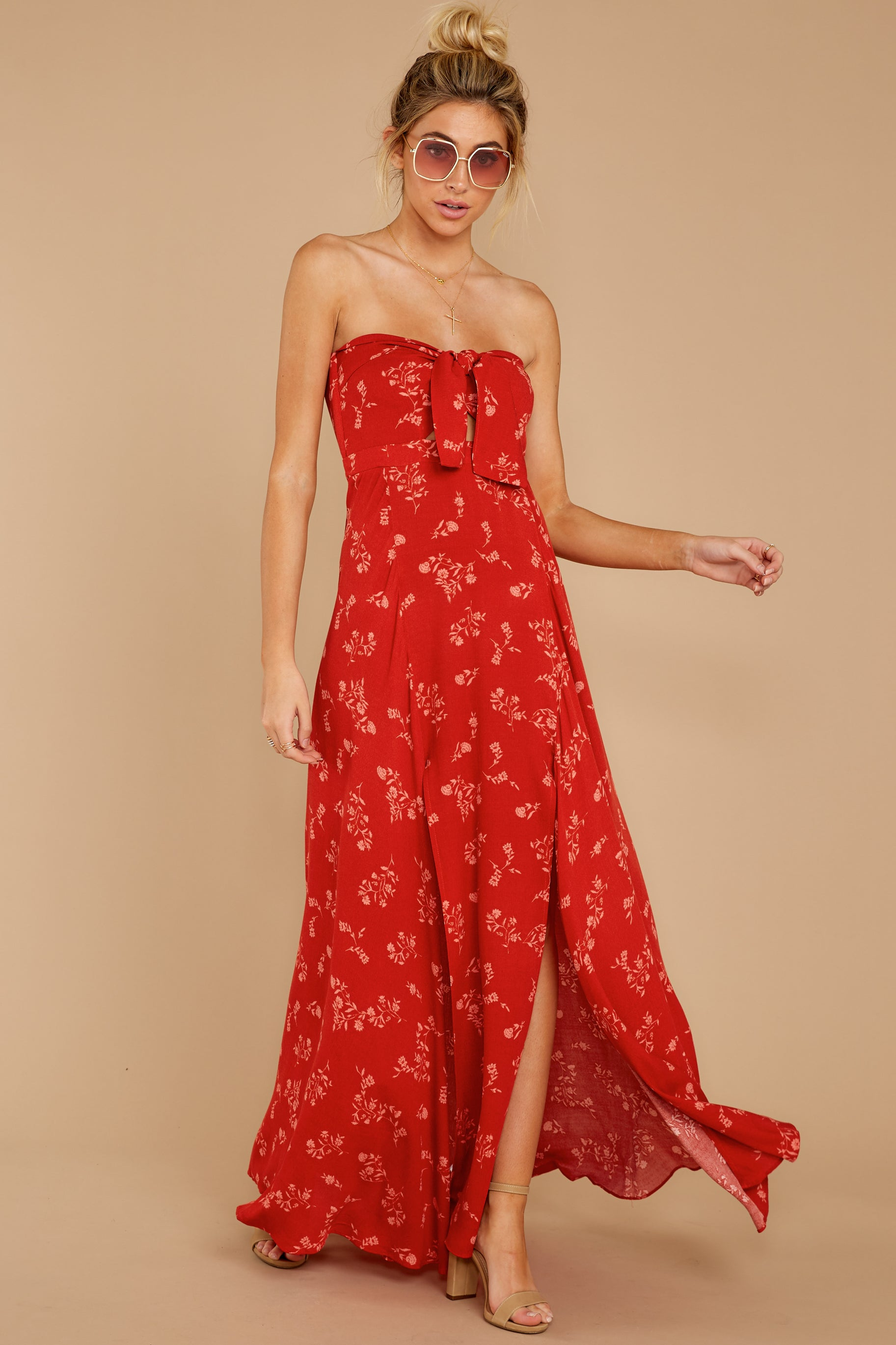 5 Forget Your Watch Rust Floral Print Maxi Dress at reddressboutique.com