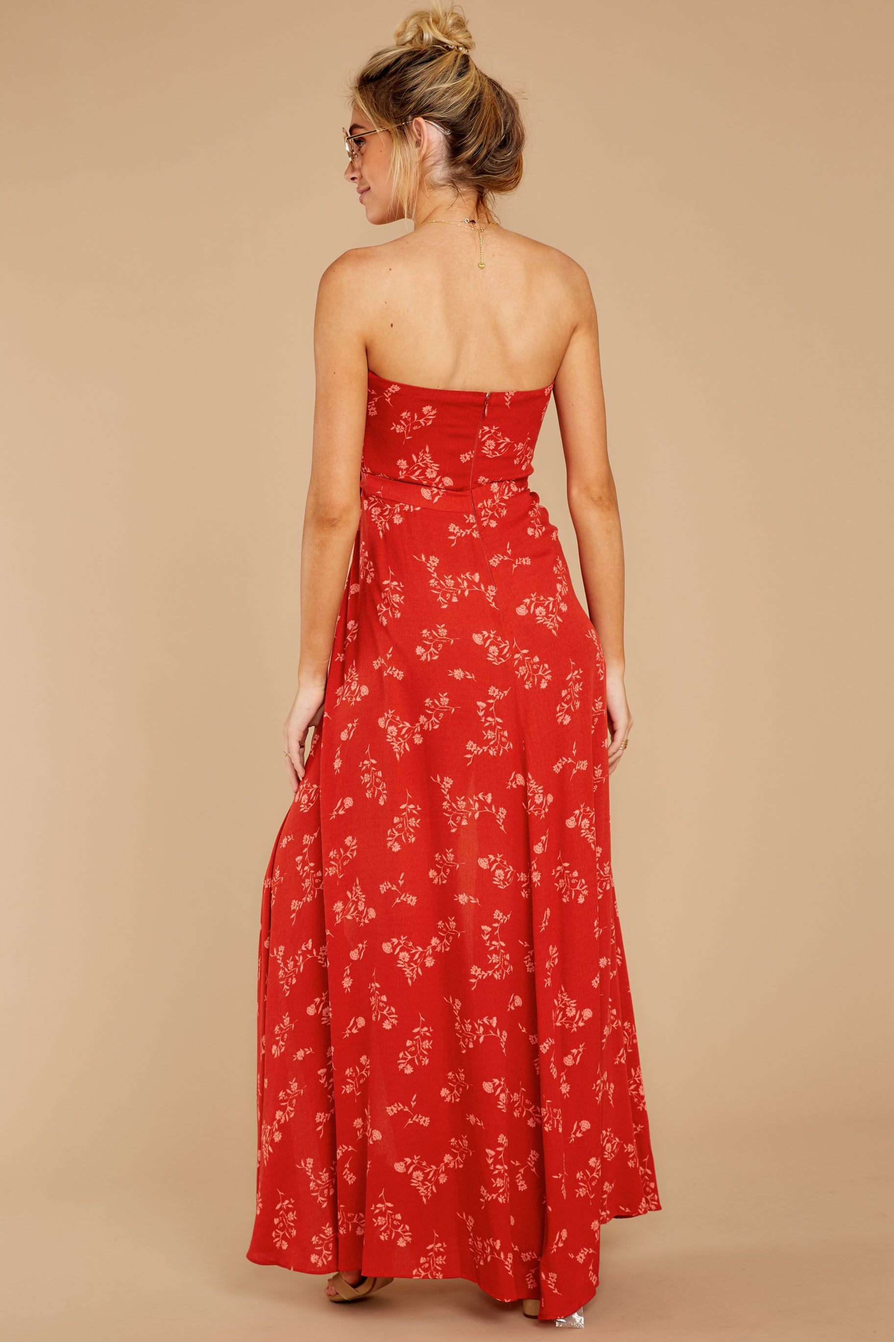 8 Forget Your Watch Rust Floral Print Maxi Dress at reddressboutique.com