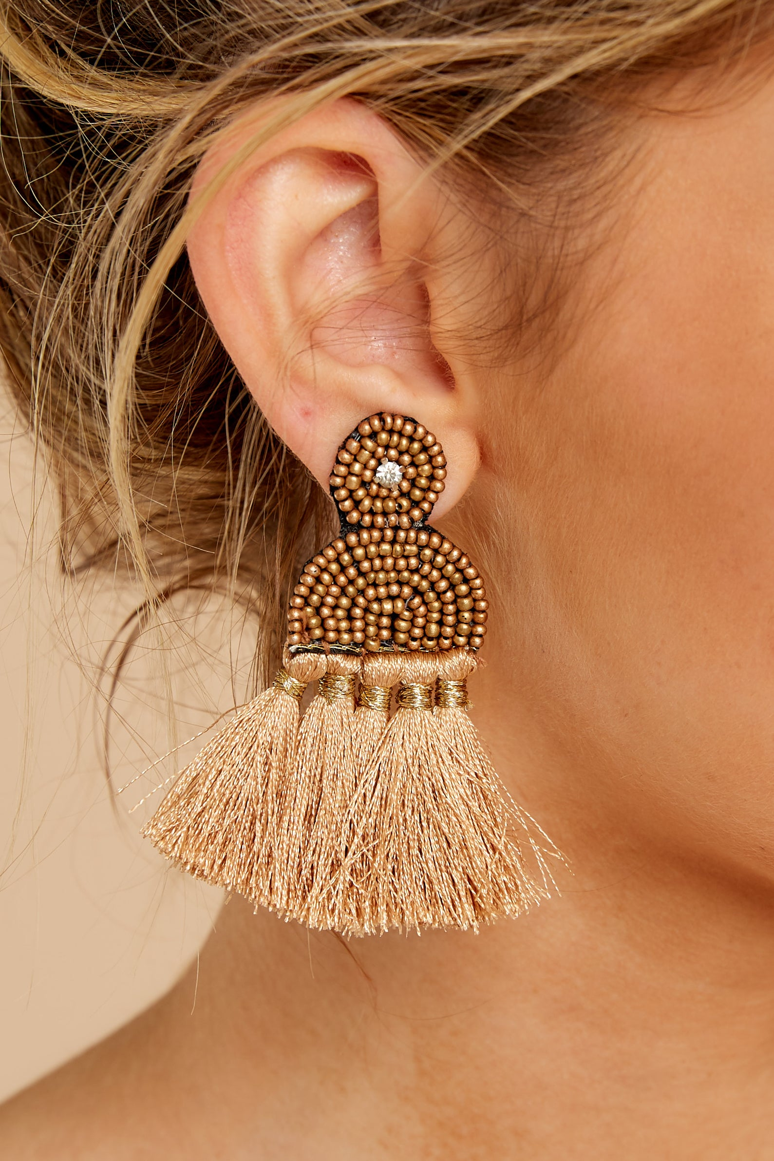 4 Call The Night Tan Earrings at reddressboutique.com