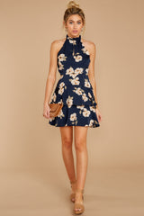 2 Blowing Kisses Navy Blue Floral Print Dress at reddressboutique.com