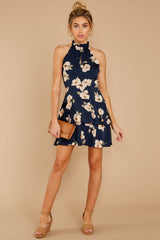 3 Blowing Kisses Navy Blue Floral Print Dress at reddressboutique.com