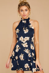 6 Blowing Kisses Navy Blue Floral Print Dress at reddressboutique.com