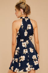 7 Blowing Kisses Navy Blue Floral Print Dress at reddressboutique.com