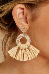 1 There She Goes Beige Earrings at reddressboutique.com