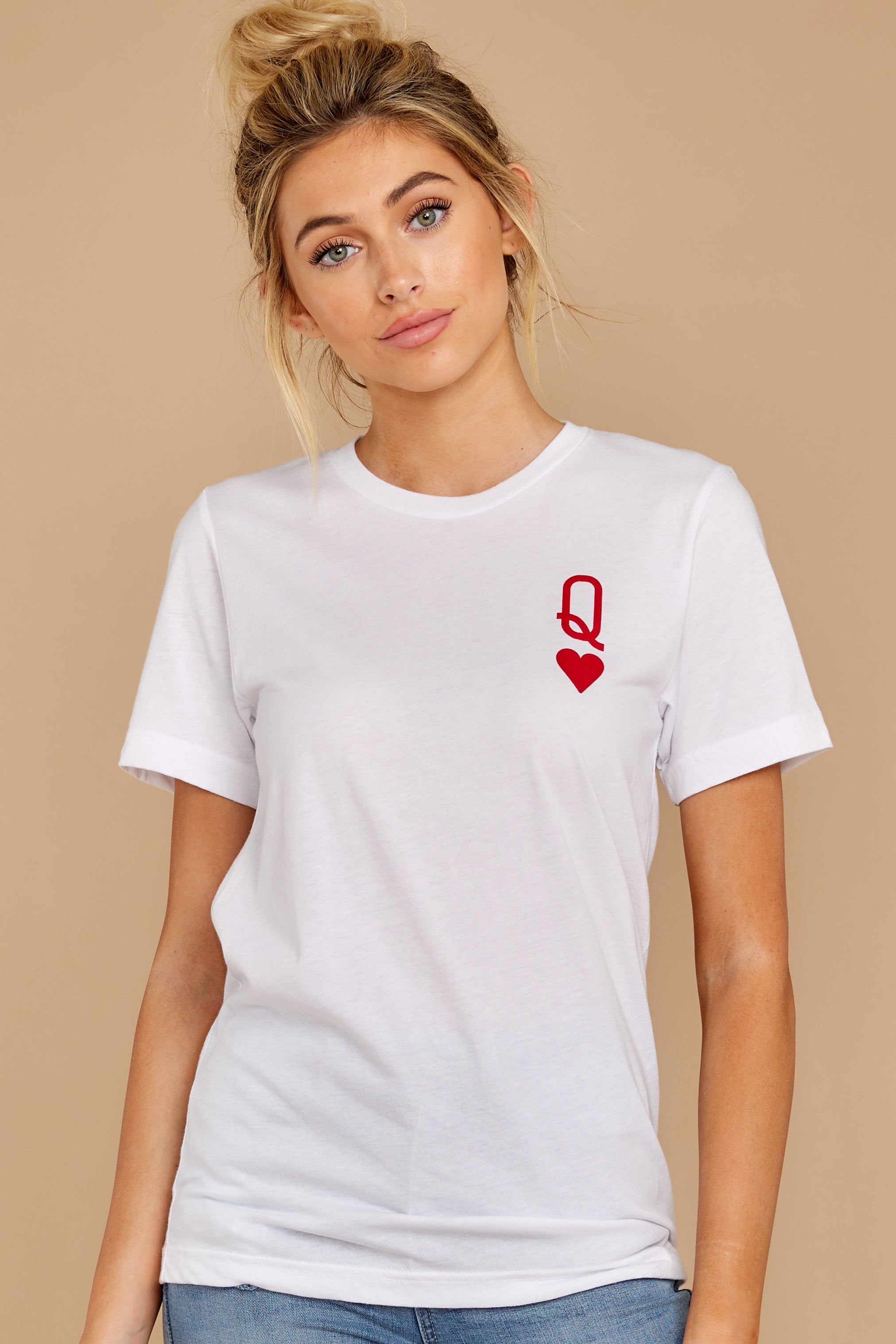 5 Queen Of Hearts White Graphic Tee at reddressboutique.com