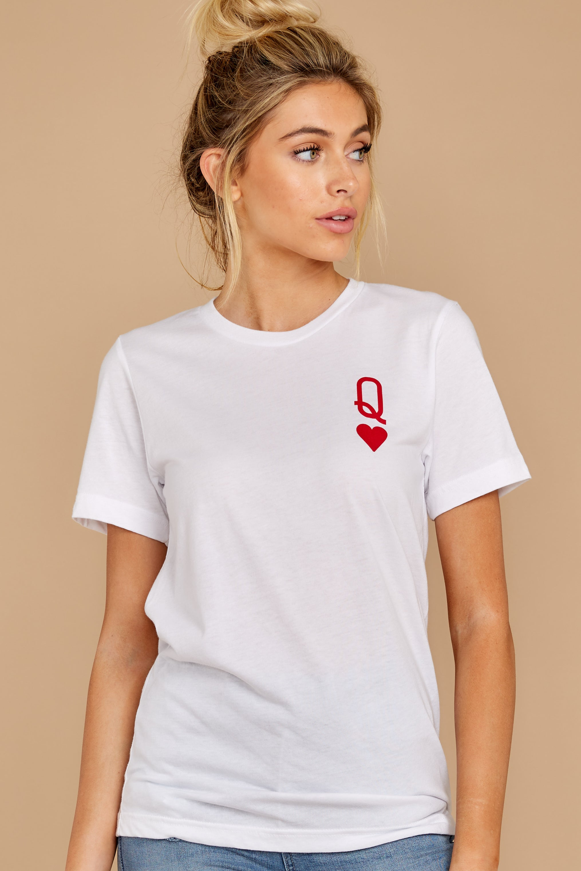 6 Queen Of Hearts White Graphic Tee at reddressboutique.com