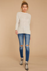 3 Sweet Emotion Oatmeal Sweater at reddressboutique.com
