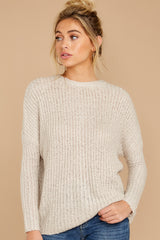 4 Sweet Emotion Oatmeal Sweater at reddressboutique.com