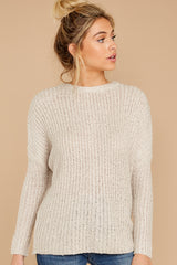 5 Sweet Emotion Oatmeal Sweater at reddressboutique.com