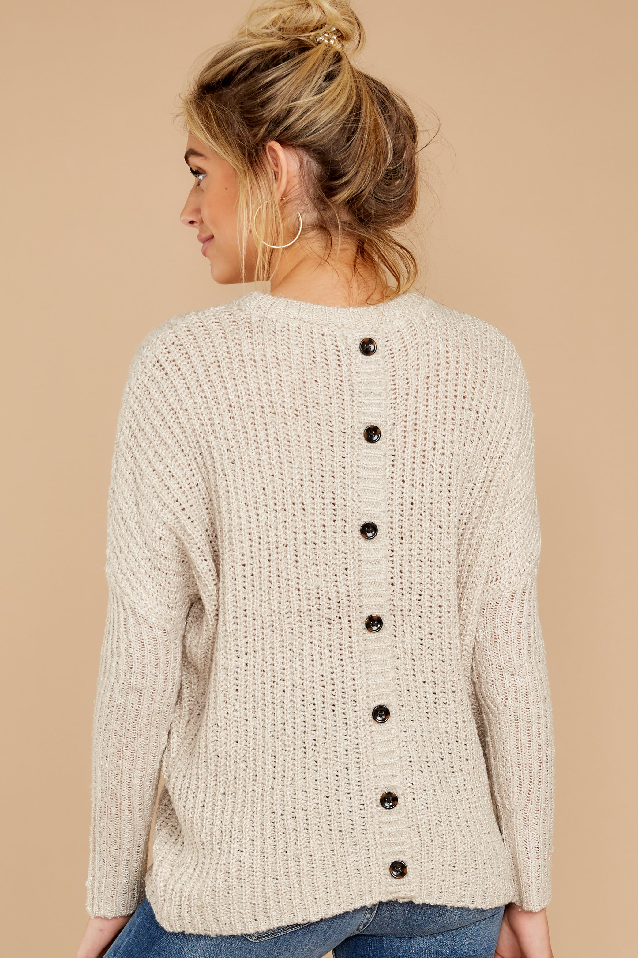 8 Sweet Emotion Oatmeal Sweater at reddressboutique.com