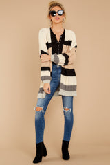 1 For The Chills Beige Multi Stripe Cardigan at reddressboutique.com