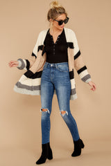 4 For The Chills Beige Multi Stripe Cardigan at reddressboutique.com