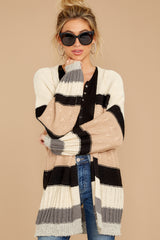 5 For The Chills Beige Multi Stripe Cardigan at reddressboutique.com