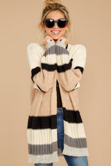 7 For The Chills Beige Multi Stripe Cardigan at reddressboutique.com