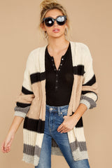 6 For The Chills Beige Multi Stripe Cardigan at reddressboutique.com