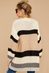 8 For The Chills Beige Multi Stripe Cardigan at reddressboutique.com