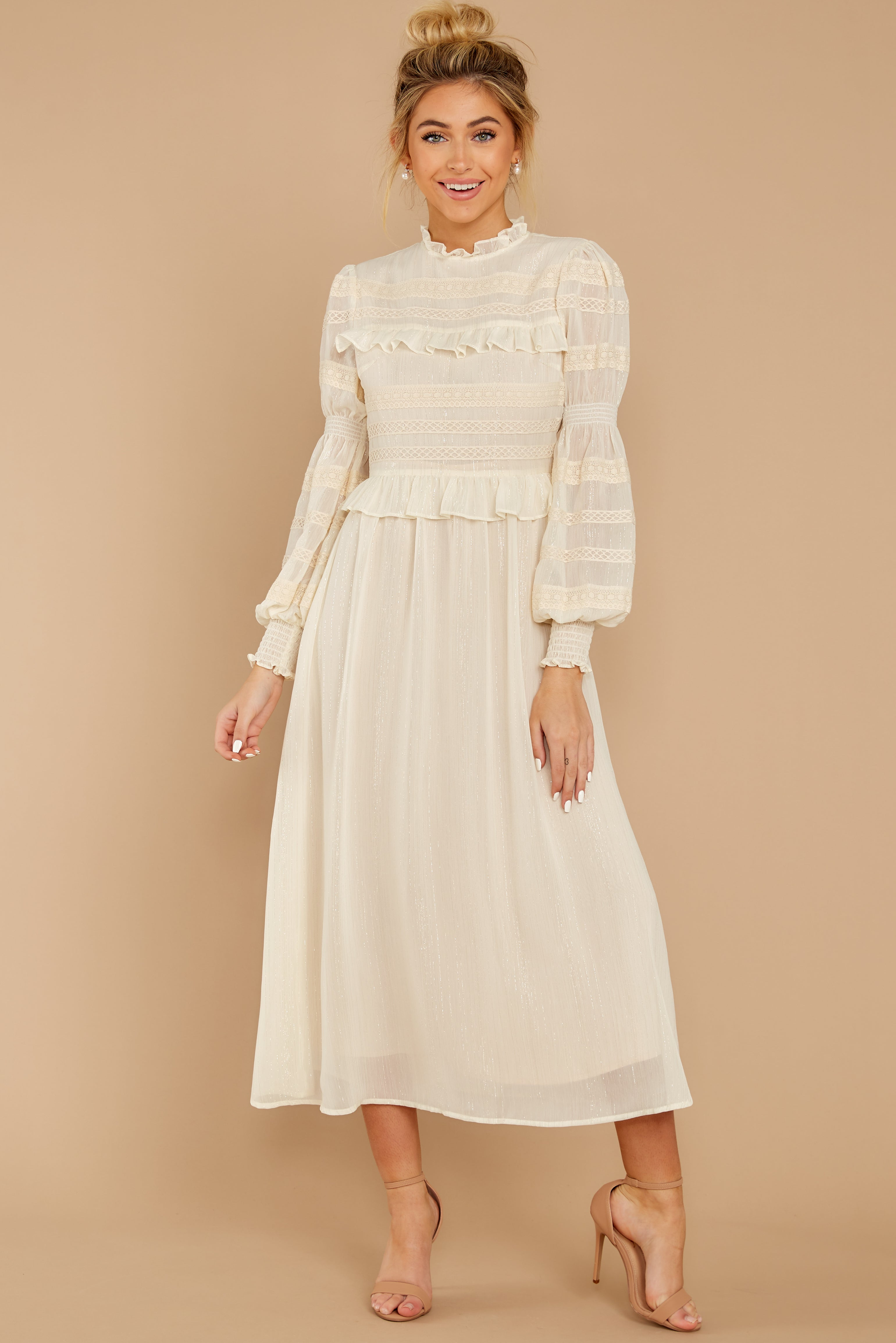 4 Simply Wishing For Ivory Midi Dress at reddressboutique.com