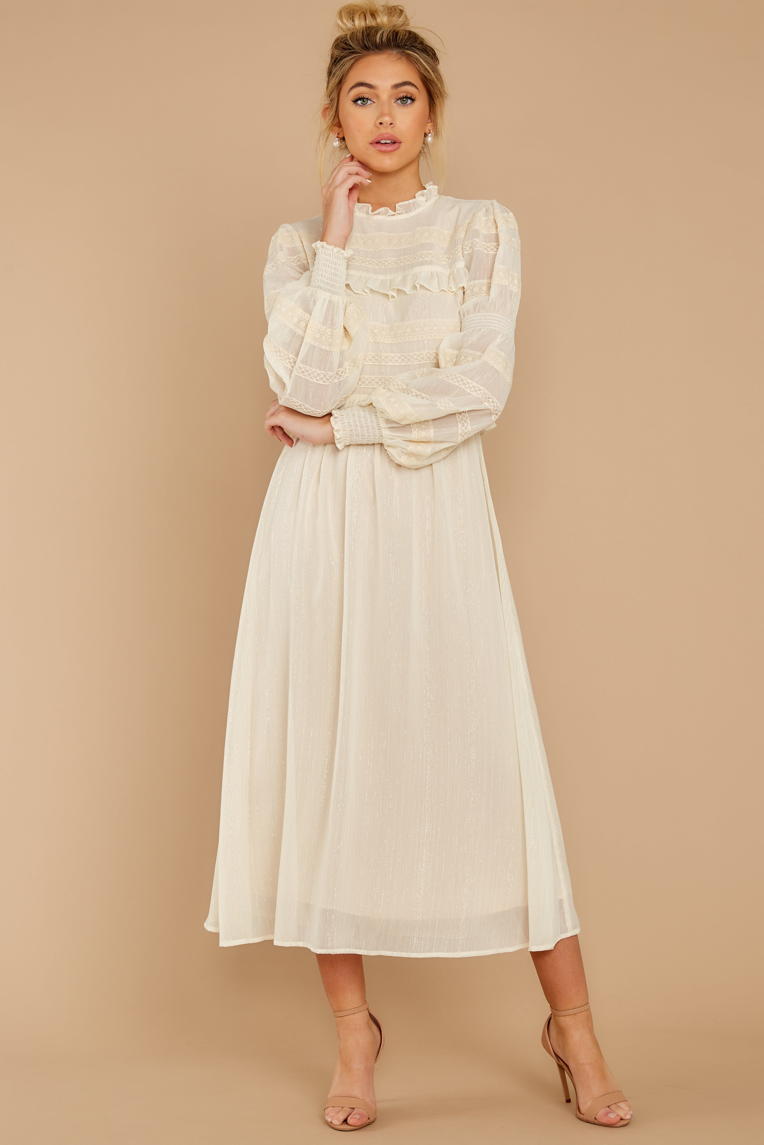 6 Simply Wishing For Ivory Midi Dress at reddressboutique.com