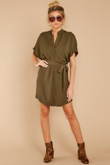 2 Around The Clock Olive Green Dress at reddress.com