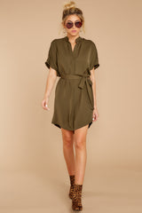 3 Around The Clock Olive Green Dress at reddress.com
