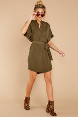 1 Around The Clock Olive Green Dress at reddress.com