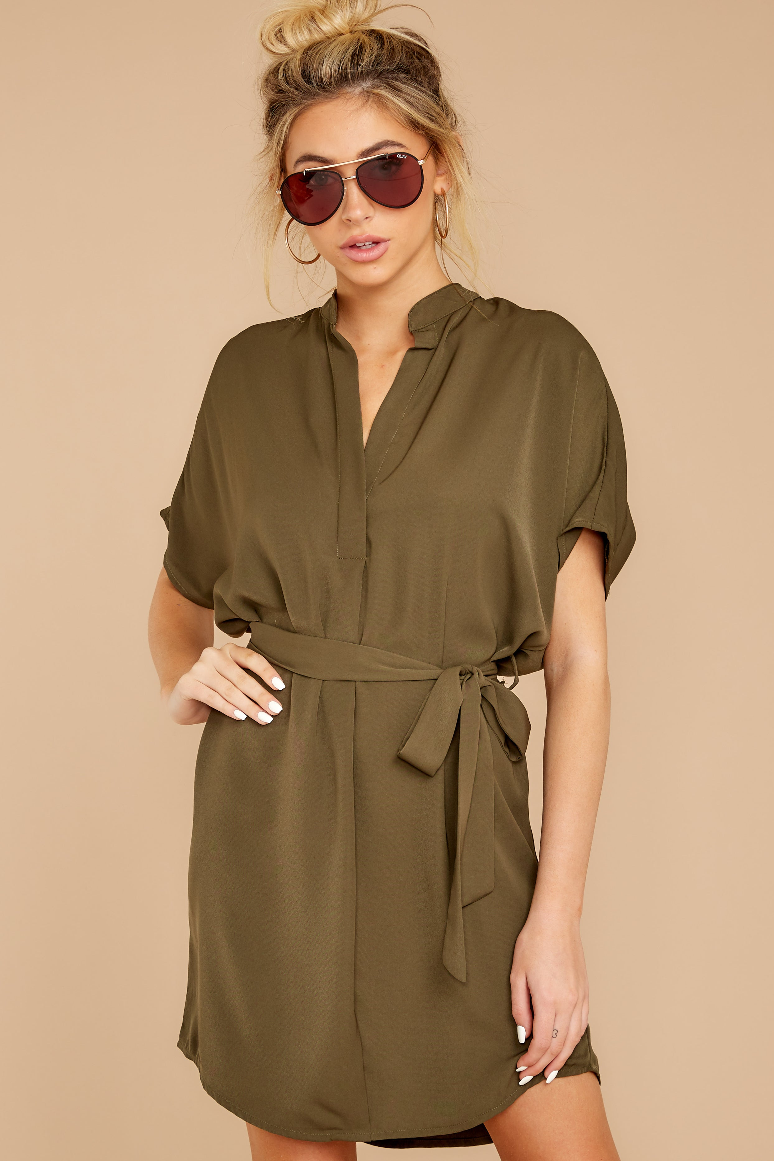 4 Around The Clock Olive Green Dress at reddress.com