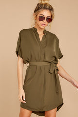 6 Around The Clock Olive Green Dress at reddress.com