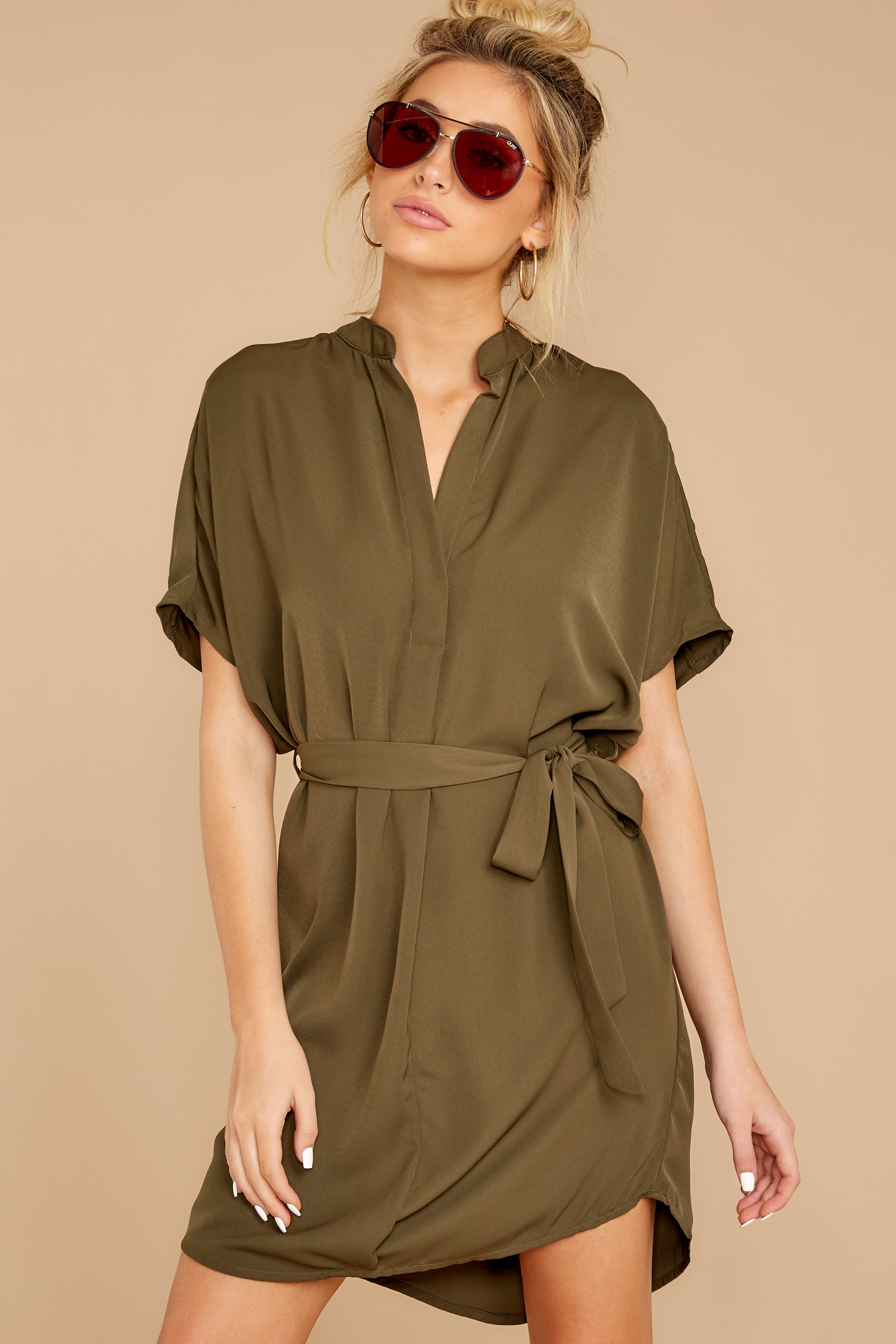 7 Around The Clock Olive Green Dress at reddress.com
