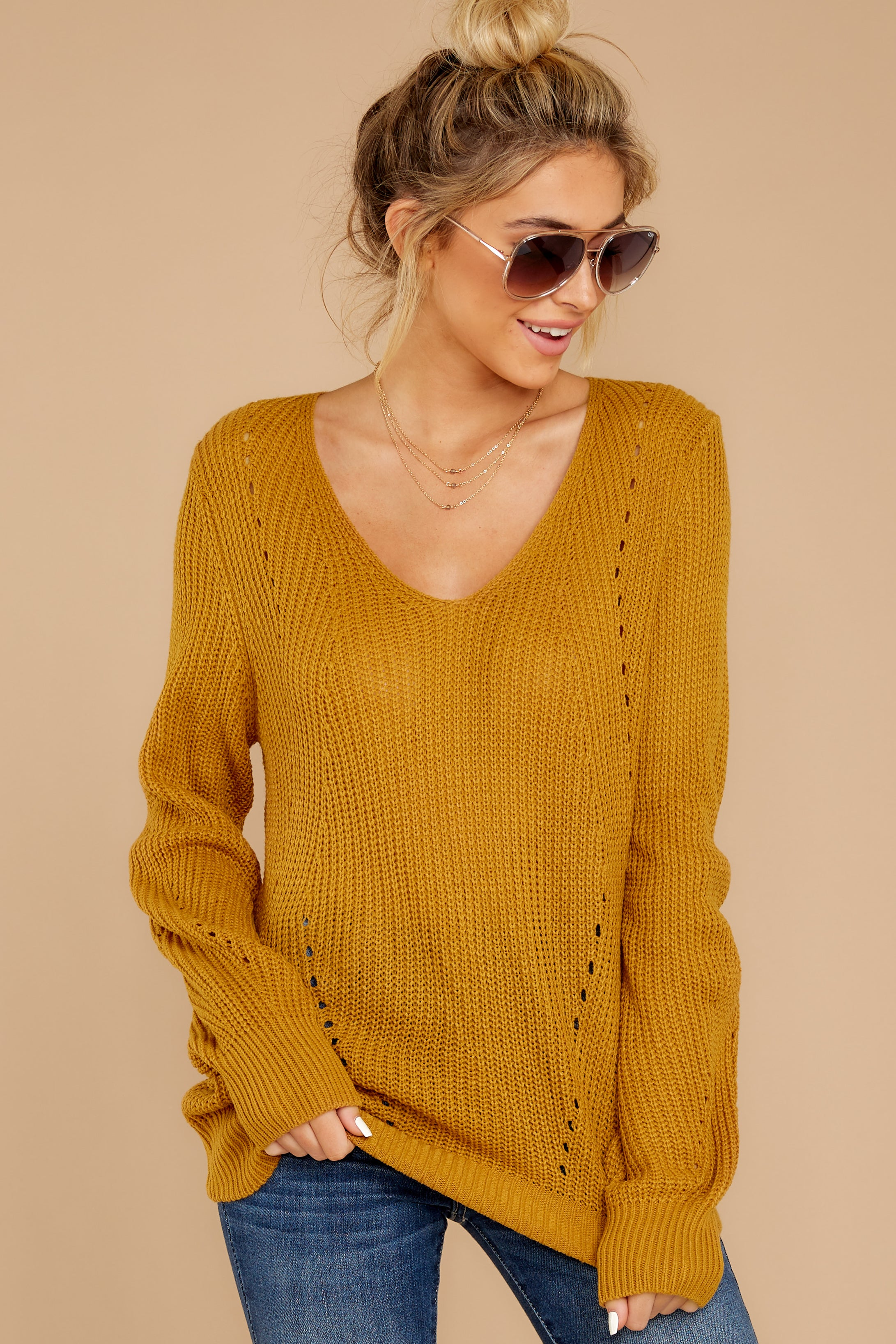 4 Time For This Goldenrod Sweater at reddressboutique.com