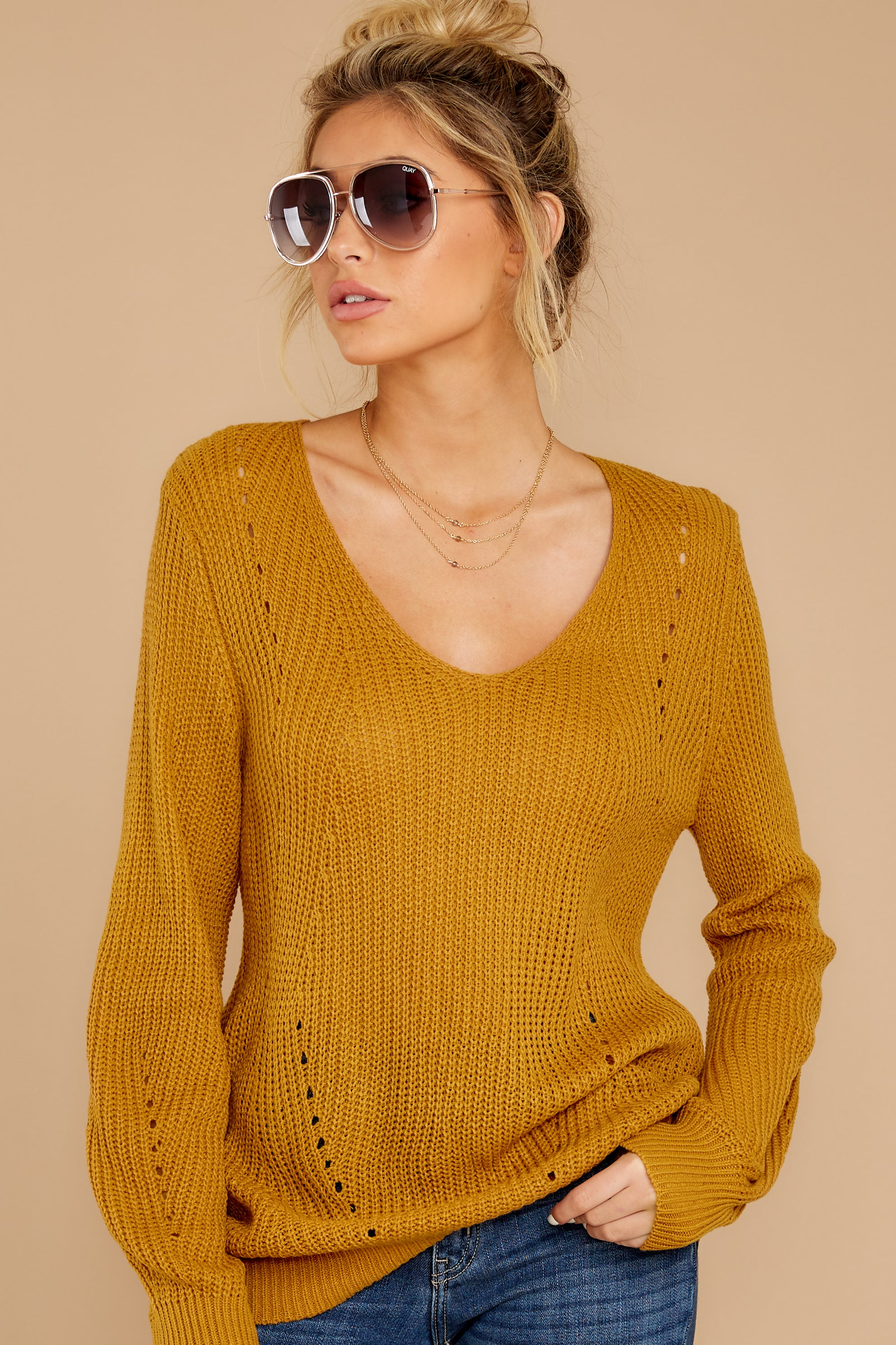 5 Time For This Goldenrod Sweater at reddressboutique.com