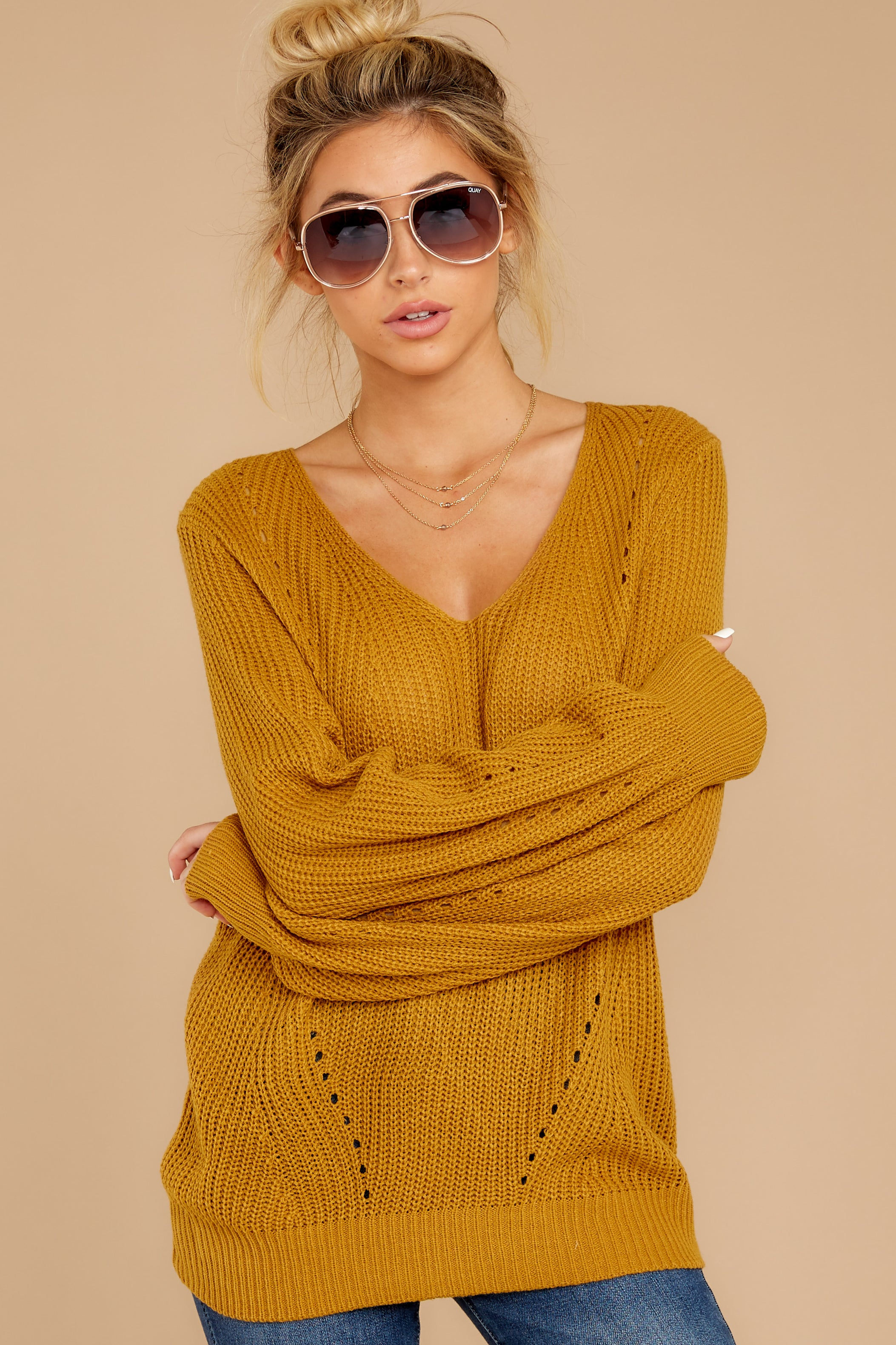 6 Time For This Goldenrod Sweater at reddressboutique.com