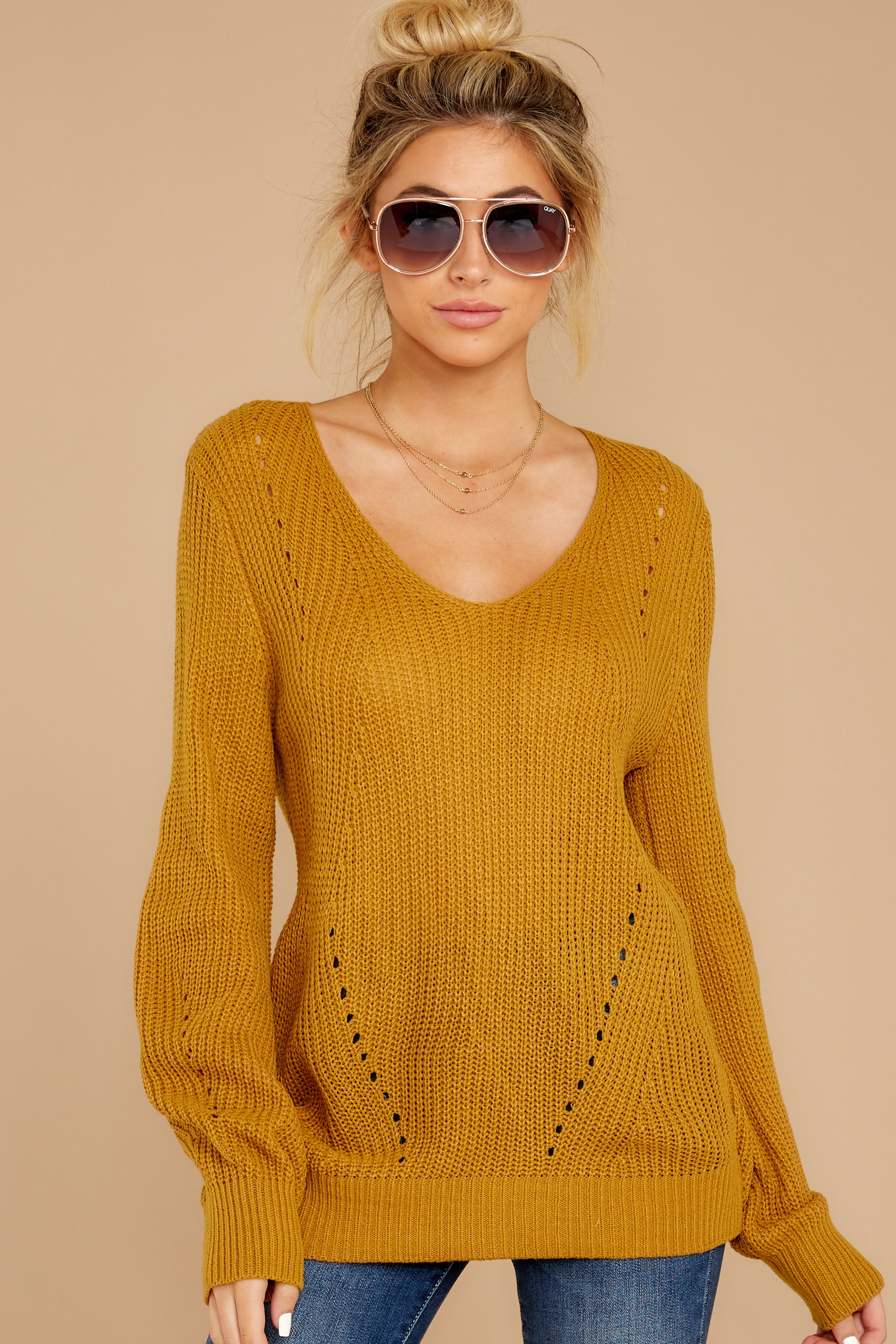 7 Time For This Goldenrod Sweater at reddressboutique.com