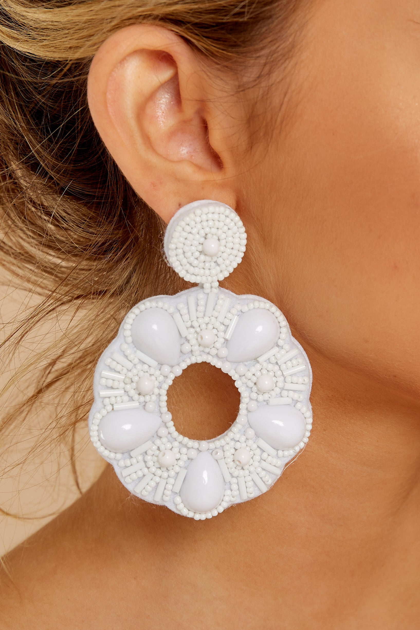 1 Search Is Over White Beaded Earrings at reddress.com