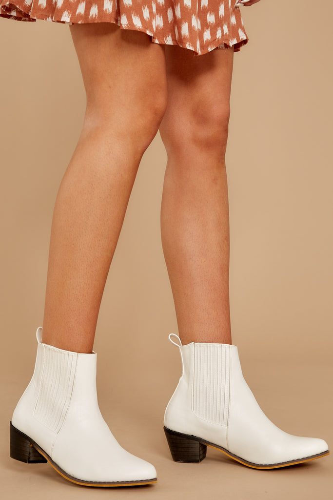 4 Kind Of Iconic White Mid Calf Boots at reddressboutique.com
