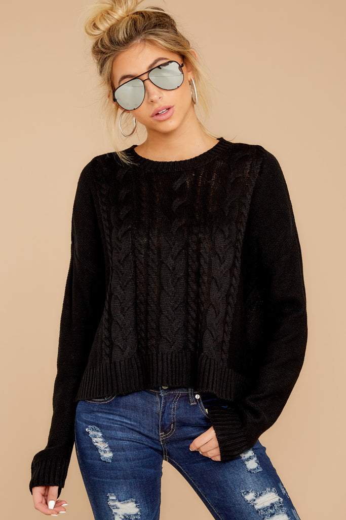 1 Gotta Be Real Black Waffle Knit Sweater at reddressboutique.com